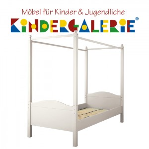 Einzelbett Candisbogen • 90x200cm • inkl. Himmelaufsatz • reinweiß • ANNETTE FRANK