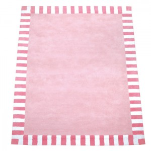 Zubehör • Teppich Rosa Streifenrand Pink • 140x200cm • ANNETTE FRANK