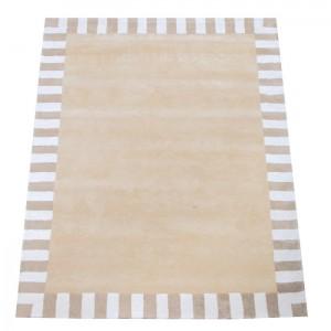 Zubehör • Teppich Beige Streifenrand • 140x200cm • ANNETTE FRANK