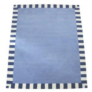 Zubehör • Teppich Stahlblau Streifenrand Dunkelblau • 140x200cm • ANNETTE FRANK