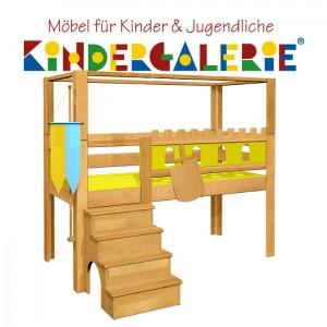 debe.deluxe Burg halbhohes Himmelbett mit Treppe