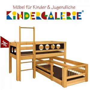 debe.deluxe Pirat halbhohes Hochbett & niedriges Kinderbett mit KUBU-Gitter über Eck