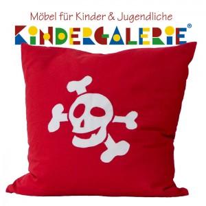 debe.deluxe Pirat Zubehör • Totenkopf-Kissen in rot