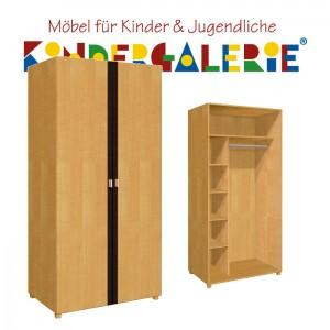 debe.deluxe Kleiderschrank • zweitürig • Breite 100cm • mit Akzentfarbe in diversen Farben