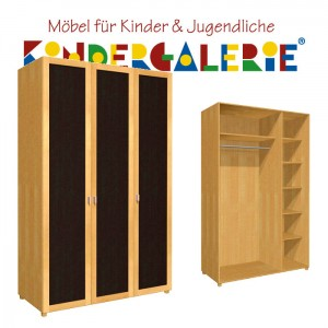 debe.deluxe Kleiderschrank • 3-türig • Breite 120cm • mit Türfüllung