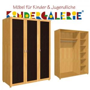 debe.deluxe Kleiderschrank • 3-türig • Breite 150cm • mit Türfüllung in diversen Farben