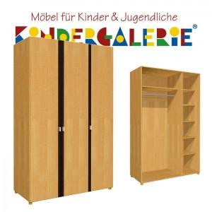 debe.deluxe Kleiderschrank • 3-türig • Breite 120cm • mit Akzentleisten in diversen Farben