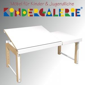 """debe.delite """"Ziggy-Schreibtisch 68x120cm mit geteilter Platte"""" in Buche natur / Platte HPL weiß"""