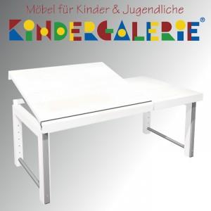 """debe.deluxe """"Ziggy-Schreibtisch 68x120cm mit geteilter Platte"""", in weiß gebeizt oder 13 weiteren Farbtönen"""