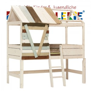 LIFETIME Baumhütte • halbhohes Hochbett whitewash mit Leiter schräg • ORIGINAL