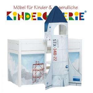 LIFETIME Minihochbett 113cm • mit Discovery-Treppenturm • weiß lackiert • ORIGINAL