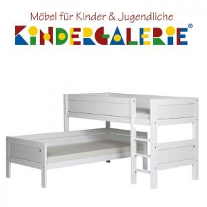 LIFETIME Bett / Eck-Etagenbett mit gerader Leiter • weiß lackiert • ORIGINAL