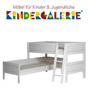 LIFETIME Bett / Eck-Etagenbett mit schräger Leiter • weiß lackiert • ORIGINAL