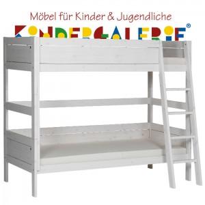 LIFETIME Bett / Etagenbett mit schräger Leiter • whitewash • ORIGINAL