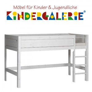 LIFETIME Bett / Spielbett halbhoch Höhe 128cm • whitewash mit Leiter gerade • ORIGINAL