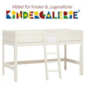 LIFETIME Bett / Spielbett halbhoch Höhe 128cm • whitewash mit Leiter mittig • ORIGINAL