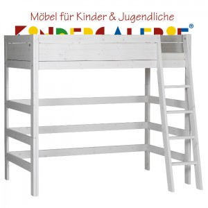 LIFETIME Bett / Hochbett mit schräger Leiter • whitewash • ORIGINAL