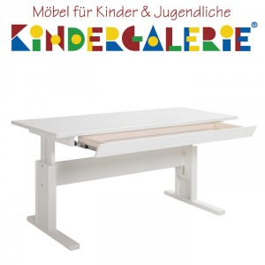 LIFETIME Schreibtisch Breite 140cm weiss lackiert mit Schublade ORIGINAL