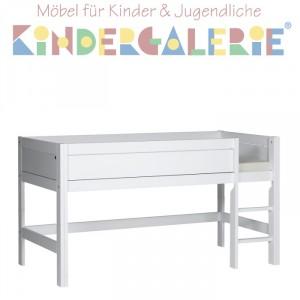 LIFETIME Minihochbett H 113cm weiß lackiert mit gerader Leiter ORIGINAL