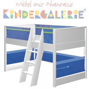 MATTI Spielbett 100x200cm Buche weiß lackiert / Stoffverkleidung blau