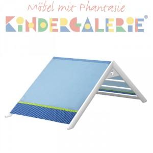 MATTI Giebel für Bett, Pritsche, Spiel-& Etagenbett mit 100cm Breite, Buche weiss lackiert / blau