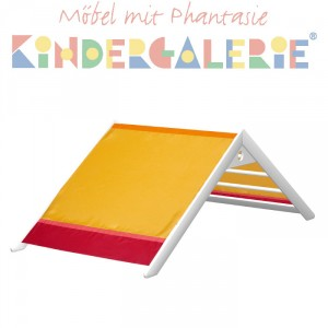 MATTI Giebel für Bett, Pritsche, Spiel-& Etagenbett mit 100cm Breite, Buche weiss lackiert / rot