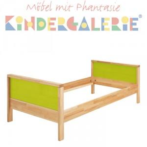 MATTI Kinderbett / Jugendbett natur / Füllungen hellgrün