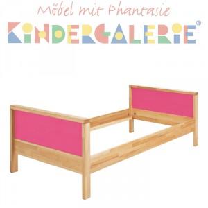 MATTI Kinderbett / Jugendbett natur / Füllungen pink
