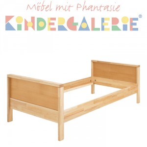 MATTI Kinderbett / Jugendbett natur / Füllungen natur