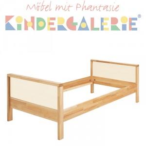 MATTI Kinderbett / Jugendbett natur / Füllungen weiß
