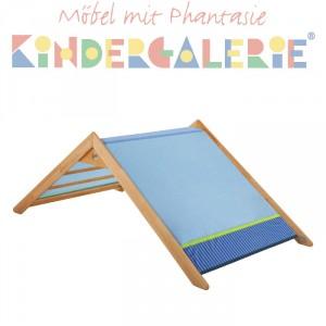 MATTI Giebel für Bett, Pritsche, Spiel-& Etagenbett mit 100cm Breite, Buche natur / blau