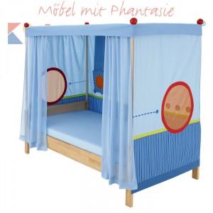 MATTI Himmelbett 100x200cm Buche natur / Stoffverkleidung blau