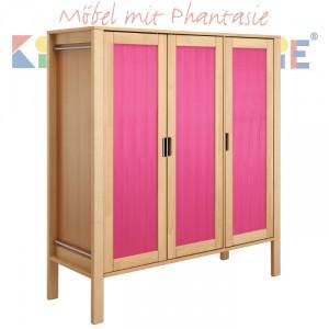MATTI Schrank 3-türig in natur / Frontfüllung pink