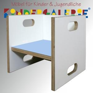 debe.detail Würfelhocker / Wandelstuhl weiß / hellblau
