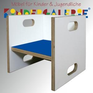 debe.detail Würfelhocker / Wandelstuhl weiß / dunkelblau