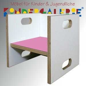 debe.detail Würfelhocker / Wandelstuhl weiß / rosé