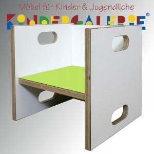 debe.detail Würfelhocker / Wandelstuhl weiß / kiwi