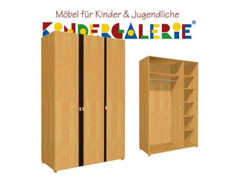 Debe.deluxe Kleiderschrank U2022 3 Türig U2022 Breite 120cm U2022 Mit Akzentleisten In  Diversen Farben