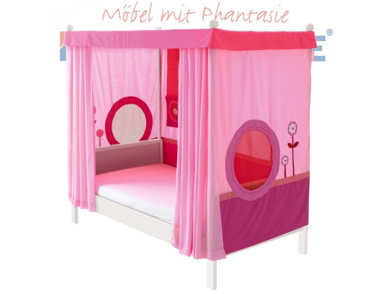 Himmelbett kinderbett prinzessin  Himmelbett 100x200cm Buche weiß lackiert / Stoffverkleidung rosa