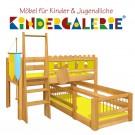 debe.deluxe Burg halbhohes Hochbett & niedriges Kinderbett über Eck mit Gitterumrandung unten
