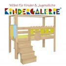 debe.deluxe Burg halbhohes Himmelbett mit Treppe • diverse Farbkombinationen