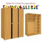 debe.deluxe Kleiderschrank • 3-türig • Breite 150cm • mit Akzentleisten