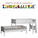 LIFETIME Bett / Etagenbett für Dachschräge mit schräger Leiter • whitewash • ORIGINAL