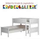 LIFETIME Bett / Eck-Etagenbett mit gerader Leiter • whitewash • ORIGINAL