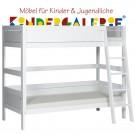 LIFETIME Bett / Etagenbett mit schräger Leiter • weiß lackiert • ORIGINAL