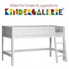 LIFETIME Bett / Spielbett halbhoch Höhe 128cm • whitewash mit Leiter schräg • ORIGINAL
