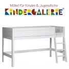LIFETIME halbhohes Bett Höhe 128cm • weiß lackiert mit Leiter schräg • ORIGINAL