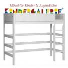 LIFETIME Bett / Hochbett mit gerader Leiter • whitewash • ORIGINAL