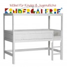 LIFETIME Bett / Minihochbett mit Himmelsgestell • whitewash • ORIGINAL