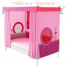 MATTI Himmelbett 100x200cm Buche weiß lackiert / Stoffverkleidung rosa